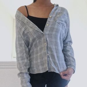 Old Navy Gray Plaid Flannel (NWOT)